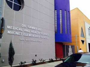 The 2013 opening of the Dr. Sammy Lee Medical and Health Science Magnet Elementary School in Los Angeles!
