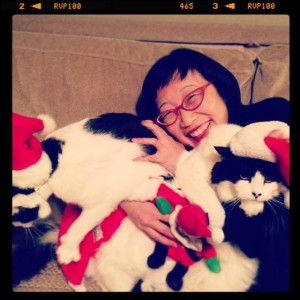 Oreo, Charlotte & Beethoven endure yet another Christmas hug with me… :)