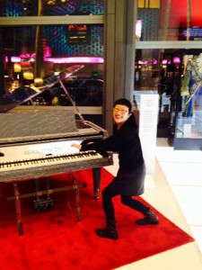 Me trying to play Liberace's piano. I wonder how many diamonds he would have installed in a violin if he played it!
