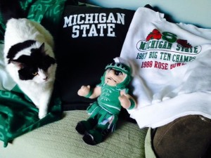 Beethoven is a loyal Spartan! Go Michigan State! (Rose Bowl 2014) :)