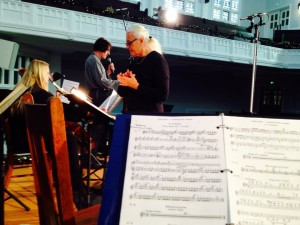 This is my bird's eye view of our conductor Frank Fetta and iconic comedian Emo Phillips during our rehearsal of St. Saens' Carnival of the Animals with the Glendale Philharmonic.
