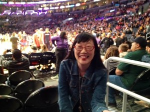 Me at the Lakers/Wizards game at the Staples Center on March 21, 2014. Five rows from the court! Go Lakers!