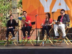 "L to R: Authors Maya Van Wagenen, Aaron Hartzler, Georgia Bragg & James L. Swanson read passages from their amazing books during our panel on ""YA Non-Fiction: Where the Truth Lies"" at the LA Times Festival of Books"