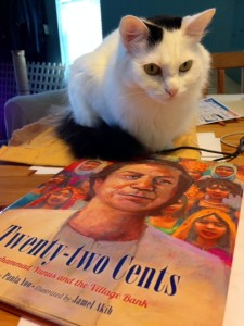 My cat Charlotte is curious to read the book, too! (Received in the mail on 8/5/14)!