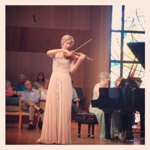 Violinist Elizabeth Pitcairn performs Vitali and Beethoven at a recital in Rolling Hills, CA.