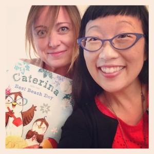 Erin Eitter Kono and I pose in a self-indulgent selfie with her latest book, CATERINA AND THE BEST BEACH DAY, coming out May 19, 2015 from Dial Books!