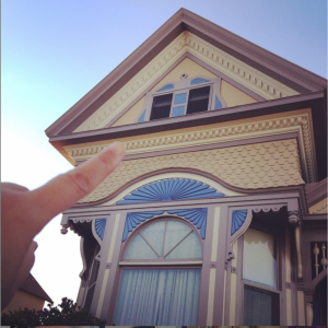 This is John Steinbeck's house in Salinas, CA. I'm pointing to the window where he wrote!