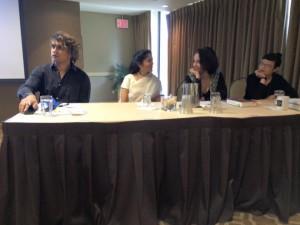 SABA AUTHOR PANEL: Vivek Shraya, Padma Venkatraman, Tanuja Desai Hidier, Paula Yoo (photo courtesy of Emera Bridger Wilson Associate Director at South Asia Center, Syracuse University)